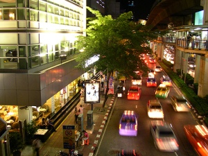 A taxi-filled road in Bangkok